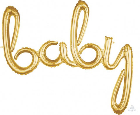 Baby Gold Script Balloon - The Pretty Prop Shop Parties, Auckland New Zealand