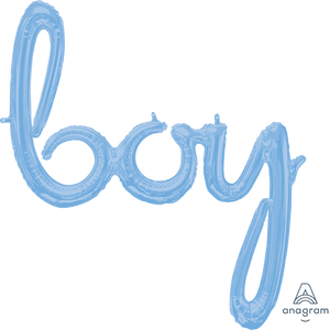 Boy Pastel Blue Script Balloon - The Pretty Prop Shop Parties, Auckland New Zealand