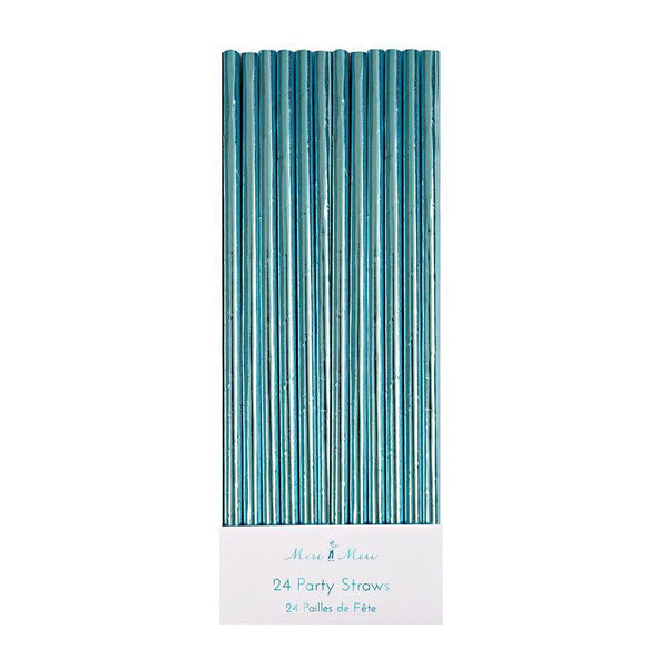 Aqua Blue Paper Party Straws - The Pretty Prop Shop Parties, Auckland New Zealand