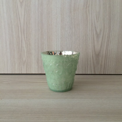 Mercury Glass Embossed Tealight Holder - Green - The Pretty Prop Shop Parties, Auckland New Zealand