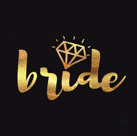 Bride Temporary Tattoo - Gold - The Pretty Prop Shop Parties, Auckland New Zealand
