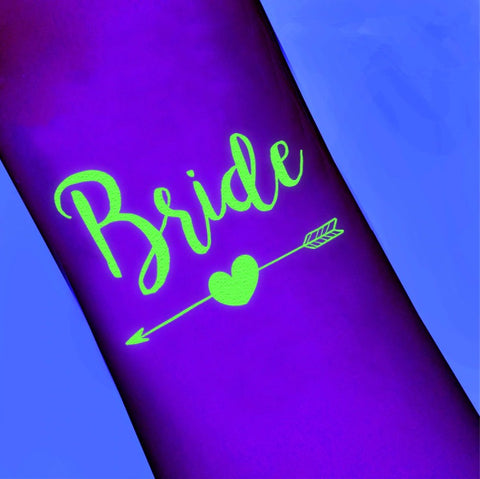 Bride Temporary Tattoo - Glow in the Dark - The Pretty Prop Shop Parties, Auckland New Zealand