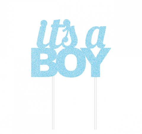 It's A Boy Cake Topper Blue Glitter