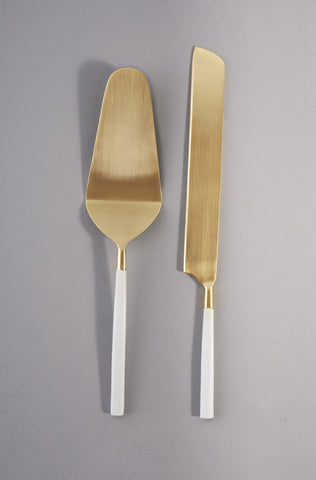Bianco Cake Knife Server Set - The Pretty Prop Shop Parties, Auckland New Zealand