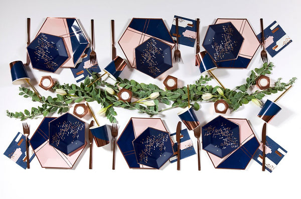 Erika - Navy Speckle Paper Plates - Small - The Pretty Prop Shop Parties, Auckland New Zealand