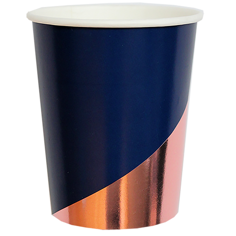 Erika - Navy Colourblock Paper Cups - The Pretty Prop Shop Parties, Auckland New Zealand