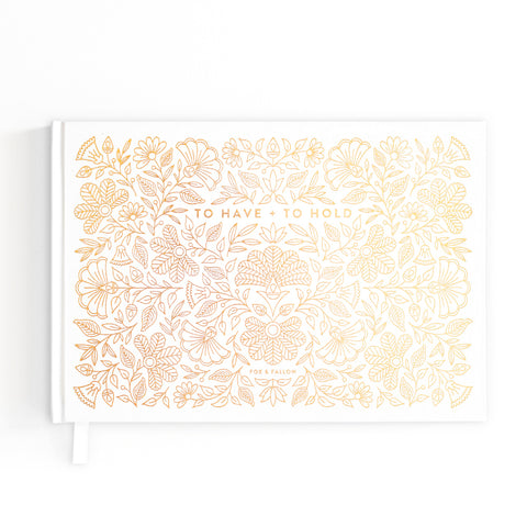 Gold Foil Wedding Guest Book - The Pretty Prop Shop Parties, Auckland New Zealand