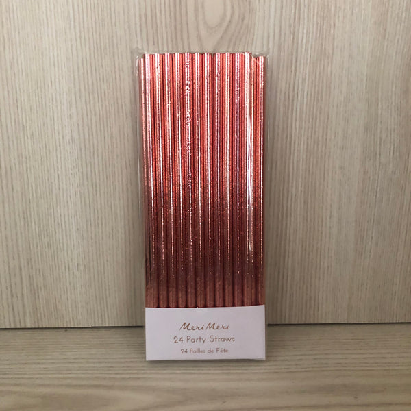 Rose Gold Paper Party Straws - The Pretty Prop Shop Parties, Auckland New Zealand