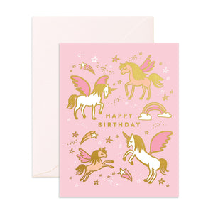 Happy Birthday Greeting Card - Unicorns - The Pretty Prop Shop Parties, Auckland New Zealand