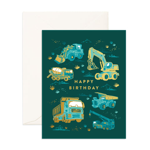 Happy Birthday Greeting Card - Trucks - The Pretty Prop Shop Parties, Auckland New Zealand