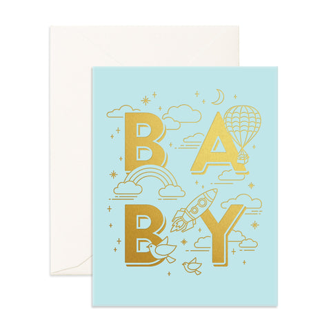 Baby Universe Greeting Card - Aqua - The Pretty Prop Shop Parties, Auckland New Zealand