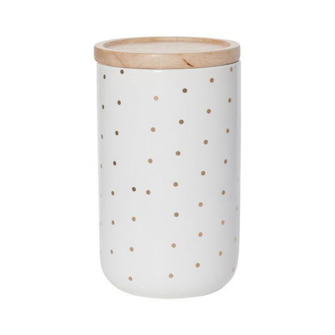 Tall Kitchen Canister Gold Spot - The Pretty Prop Shop Parties, Auckland New Zealand