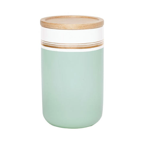 Tall Kitchen Canister Mint/Gold Stripe - The Pretty Prop Shop Parties, Auckland New Zealand