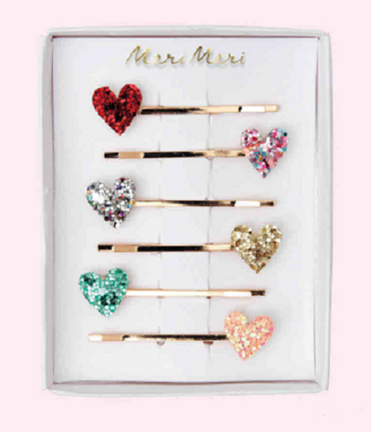 Glitter Heart Hair Slides - The Pretty Prop Shop Parties, Auckland New Zealand