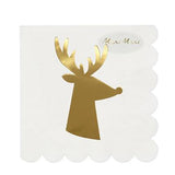 Gold Reindeer Napkins - The Pretty Prop Shop Parties, Auckland New Zealand