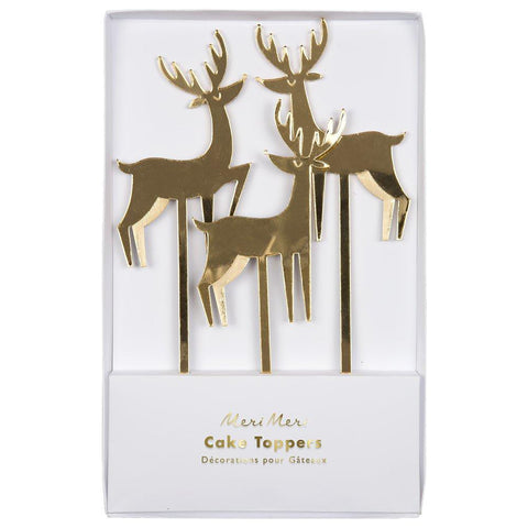 Gold Acrylic Reindeer Cake Toppers - The Pretty Prop Shop Parties, Auckland New Zealand