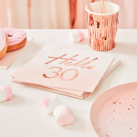 Hello 30 Birthday Party Napkins - The Pretty Prop Shop Parties, Auckland New Zealand