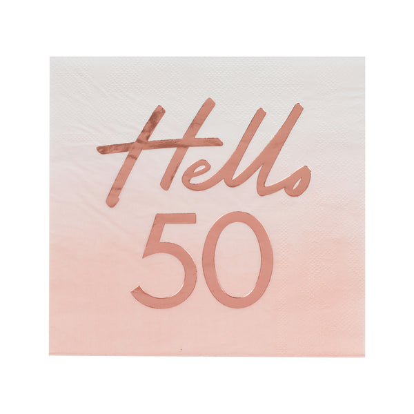 Hello 50 Birthday Party Napkins - The Pretty Prop Shop Parties, Auckland New Zealand