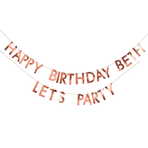 Personalized Birthday Banner Rose Gold - The Pretty Prop Shop Parties, Auckland New Zealand