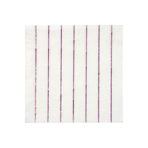 Metallic Pink Striped Napkins Small - The Pretty Prop Shop Parties, Auckland New Zealand