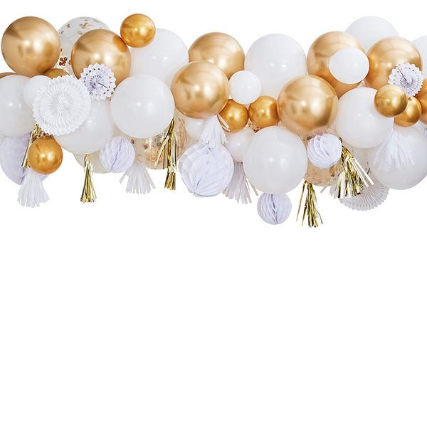 Gold Balloon & Fan Garland Party Backdrop