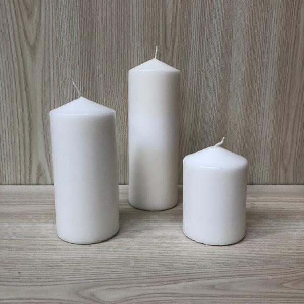 Wax Pillar Candle White 7x15cmH - The Pretty Prop Shop Parties, Auckland New Zealand