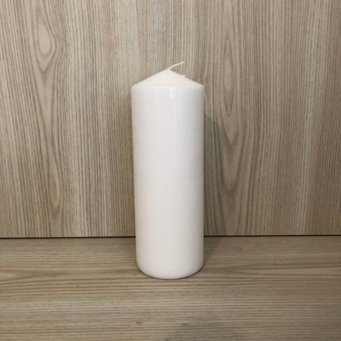 Wax Pillar Candle White 7x20cmH - The Pretty Prop Shop Parties, Auckland New Zealand