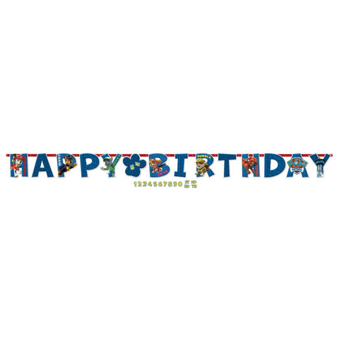 Paw Patrol Jumbo Happy Birthday Add-An-Age Letter Banner - The Pretty Prop Shop Parties, Auckland New Zealand