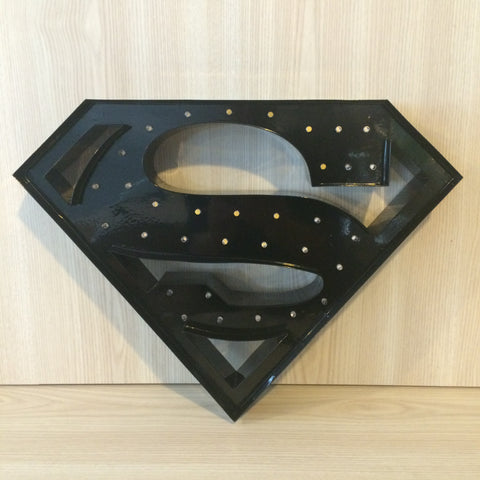 Superman LED Light - Black - The Pretty Prop Shop Parties, Auckland New Zealand