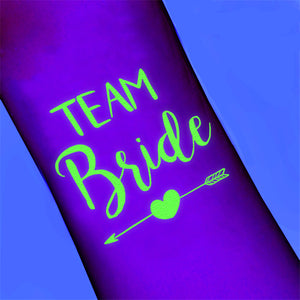 Team Bride Temporary Tattoo - Glow in the Dark - The Pretty Prop Shop Parties, Auckland New Zealand