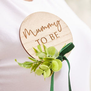 Mummy To Be Wooden Badge - Botanical Baby - The Pretty Prop Shop Parties, Auckland New Zealand