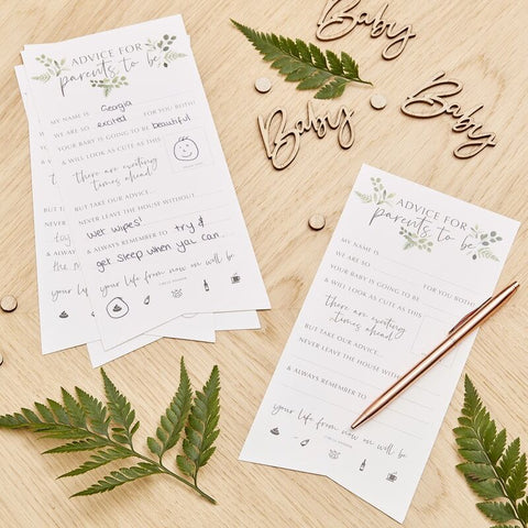 Baby Shower Advice Cards - Botanical Baby - The Pretty Prop Shop Parties, Auckland New Zealand