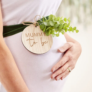 Mummy To Be Wooden Sash - Botanical Baby - The Pretty Prop Shop Parties, Auckland New Zealand