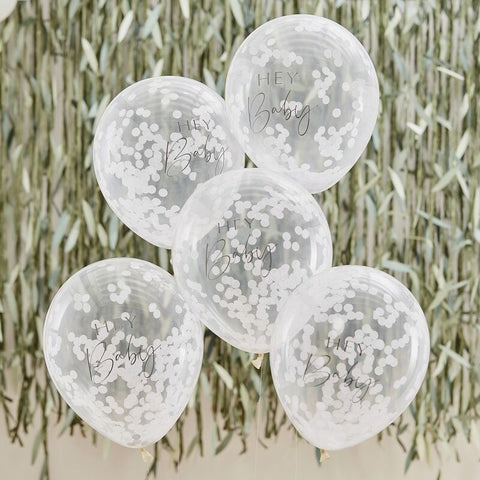 Hey Baby Printed Confetti Balloons - Botanical Baby - The Pretty Prop Shop Parties, Auckland New Zealand