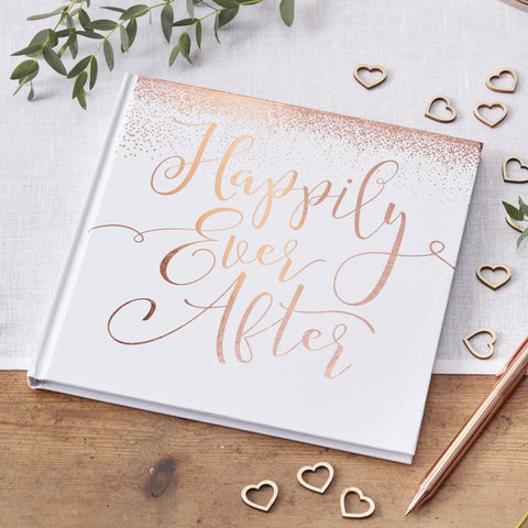 Happily Ever After Wedding Guest Book - Rose Gold - The Pretty Prop Shop Parties, Auckland New Zealand