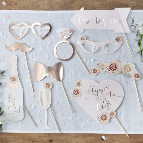 Wedding Photobooth Prop Set - Rose Gold and Pink - The Pretty Prop Shop Parties, Auckland New Zealand