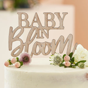 Wooden Cake Topper - Baby in Bloom