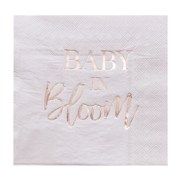 Rose Gold & Blush Paper Napkins - Baby in Bloom