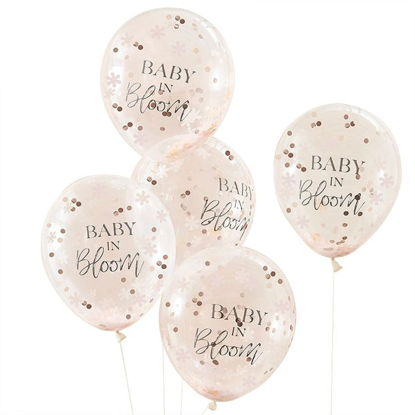 Rose Gold Baby Shower Confetti Balloons - Baby in Bloom