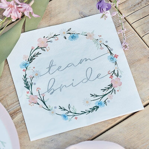 Floral Team Bride Napkins - Boho Bride Hen Party