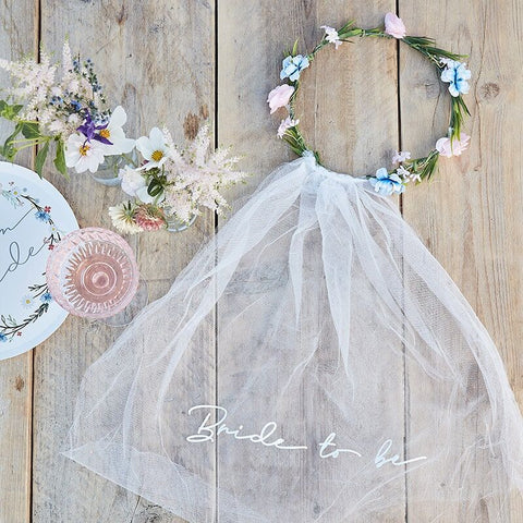 Floral Bride To Be Headband Veil - Boho Bride