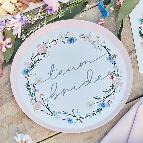 Floral Team Bride Plates - Boho Bride Hen Party