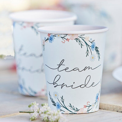 Floral Team Bride Paper Cups - Boho Bride Hen Party