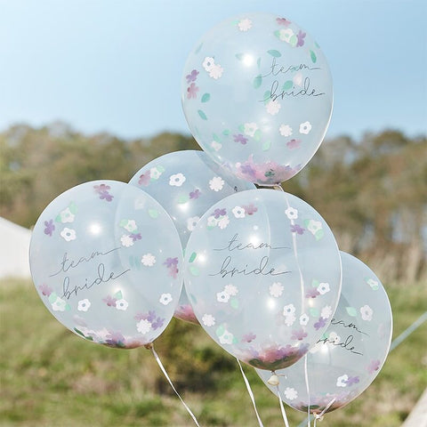 Floral Team Bride Confetti Balloons - Boho Bride Hen Party