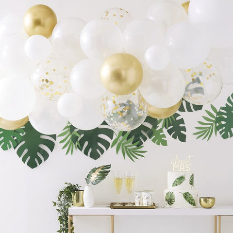 Gold Chrome Balloon Arch Kit - Botanical Hen - The Pretty Prop Shop Parties, Auckland New Zealand