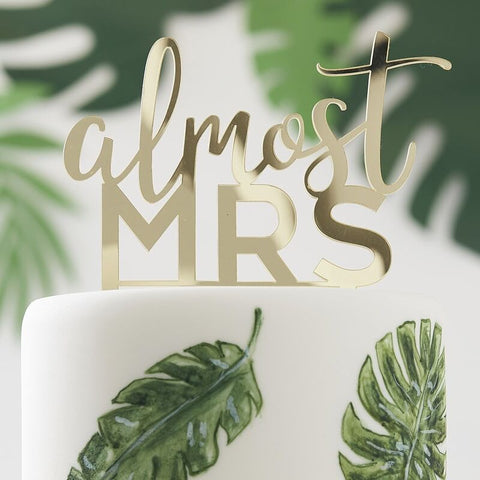 Almost Mrs Gold Cake Topper - Botanical Hen - The Pretty Prop Shop Parties, Auckland New Zealand