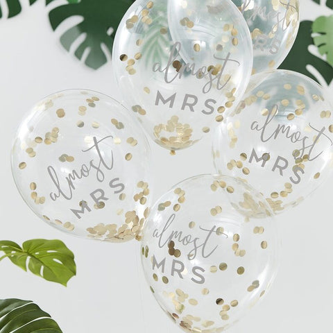 Almost Mrs Printed Confetti Balloons - Botanical Hen - The Pretty Prop Shop Parties, Auckland New Zealand