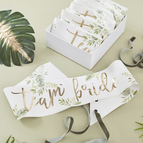 Team Bride Sashes Set/6 - Botanical Hen - The Pretty Prop Shop Parties, Auckland New Zealand