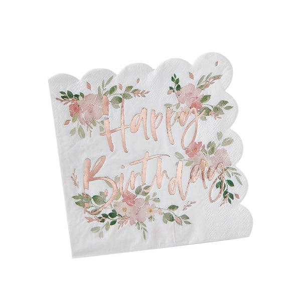 Happy Birthday Floral Napkins - The Pretty Prop Shop Parties, Auckland New Zealand
