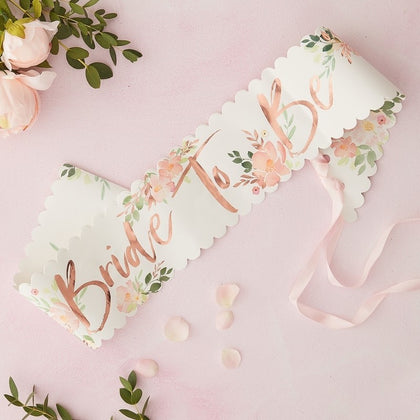 Bride To Be Sash - Floral Hen Party - The Pretty Prop Shop Parties, Auckland New Zealand